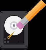 ikona dysku symbolizująca kasowanie danych