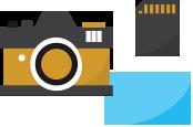 mała ikona aparatu i karty flash